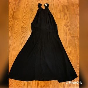 Forever 21 lace exposed back black mid dress